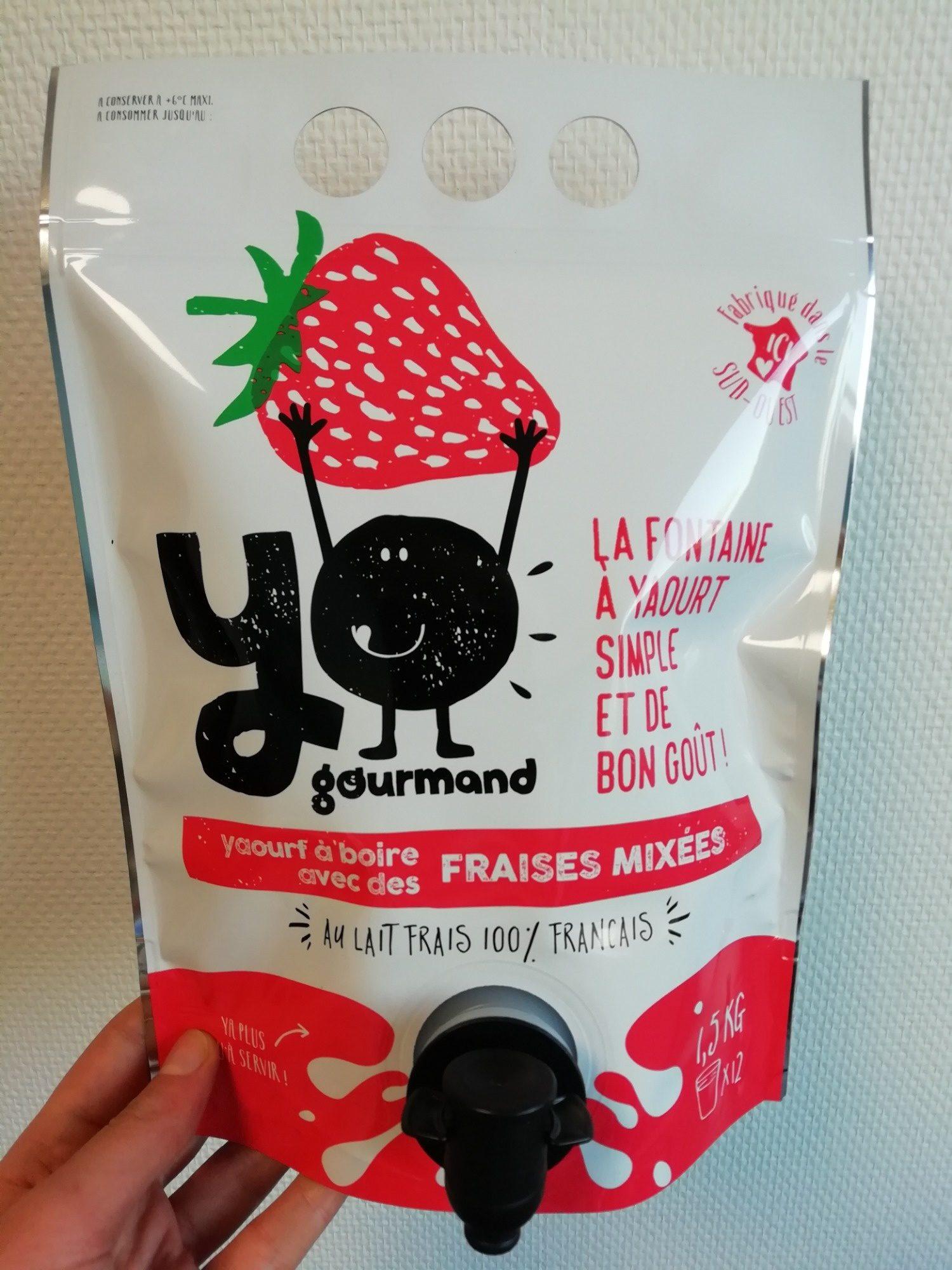 Yaourt à boire aux fraises mixées YOgourmand - Product