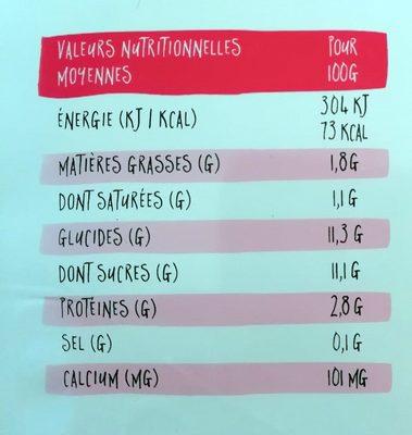 Yaourt à boire aux fraises mixées YOgourmand - Nutrition facts