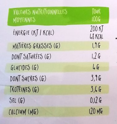 Yo gourmand - Nutrition facts