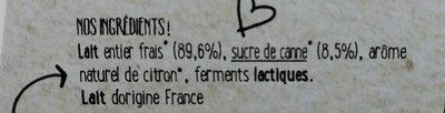 Yaourt vache Citron Bio - Ingrédients - fr