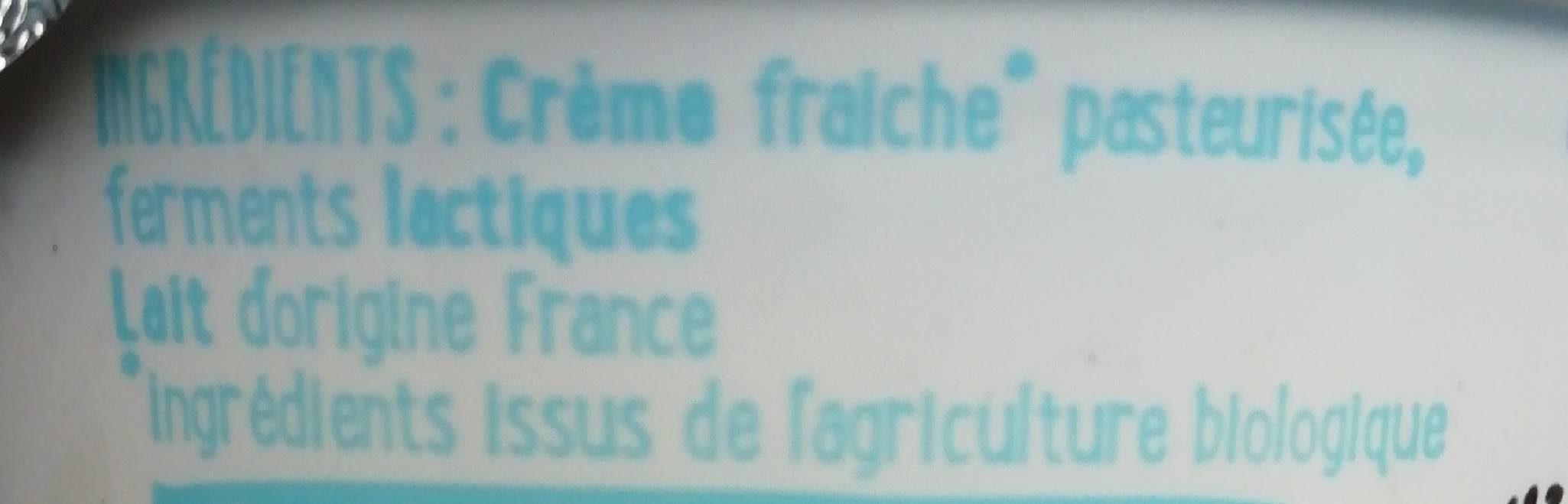 Crème épaisse de vache Bio - Ingrédients - fr
