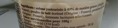 Crème Fraîche, Au Coeur Du Pays Vert 20cl - Ingrediënten