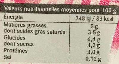 Si Légère 5% Fluide - Informations nutritionnelles