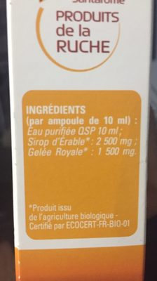 Santarome Gelée Royale Bio 20 Ampoules - Ingredients