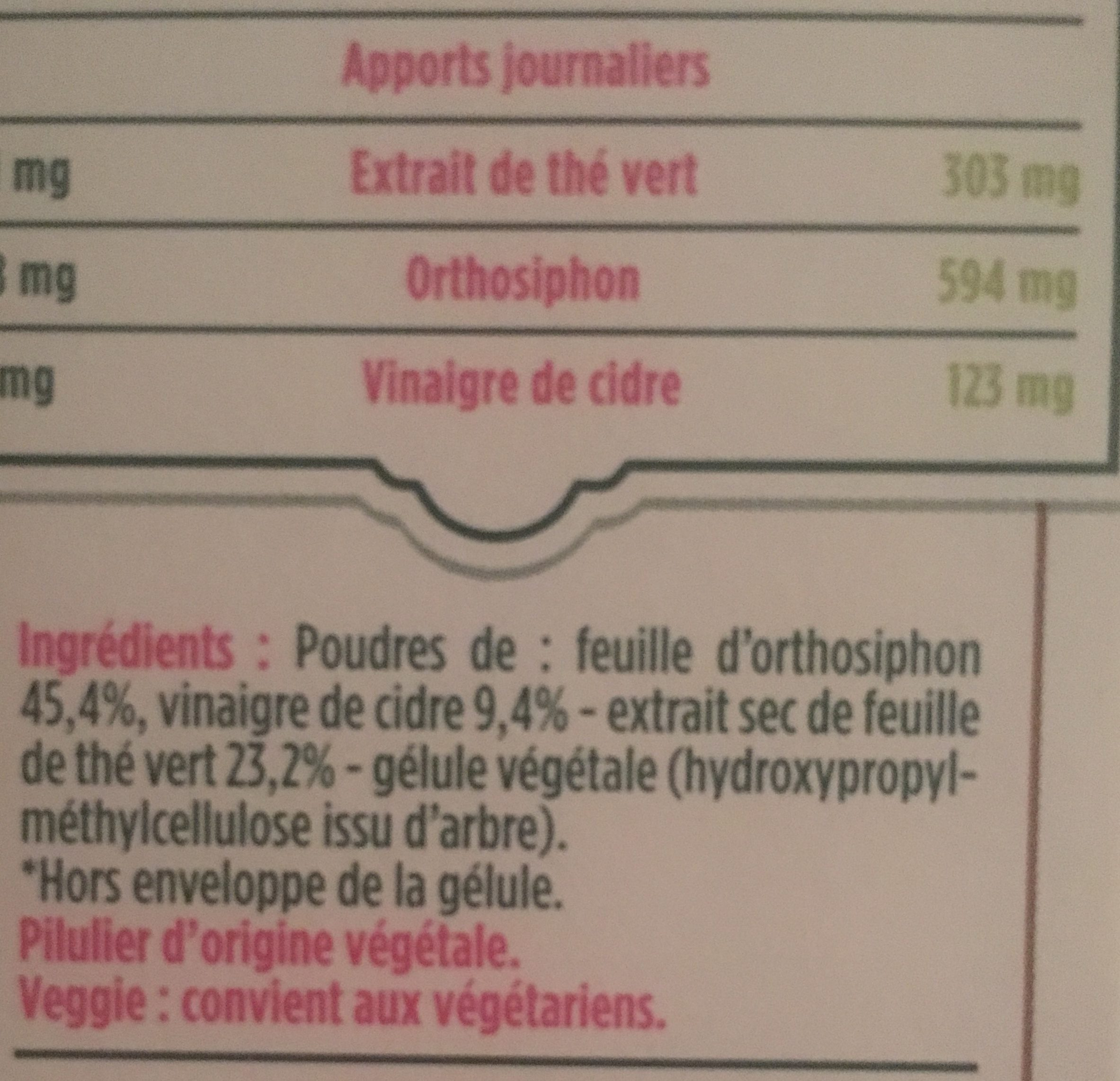 Floressance Aide Minceur The V.orthosiphon 60 Gelules - Ingredients a41a408cbb90