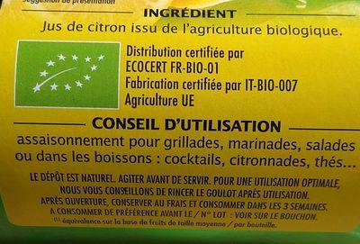 Pur jus de citron origine Sicile - Ingrédients - fr