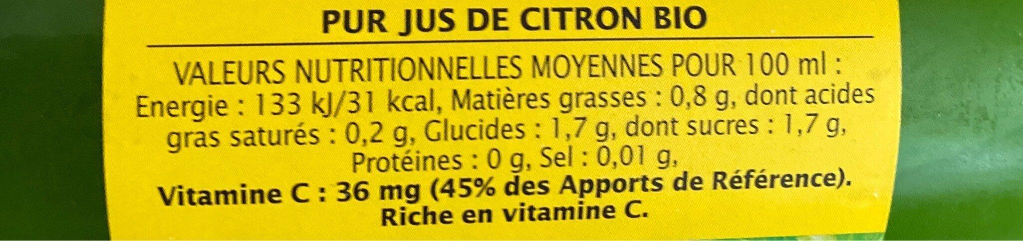 Pur jus de citron origine Sicile - Informations nutritionnelles - fr