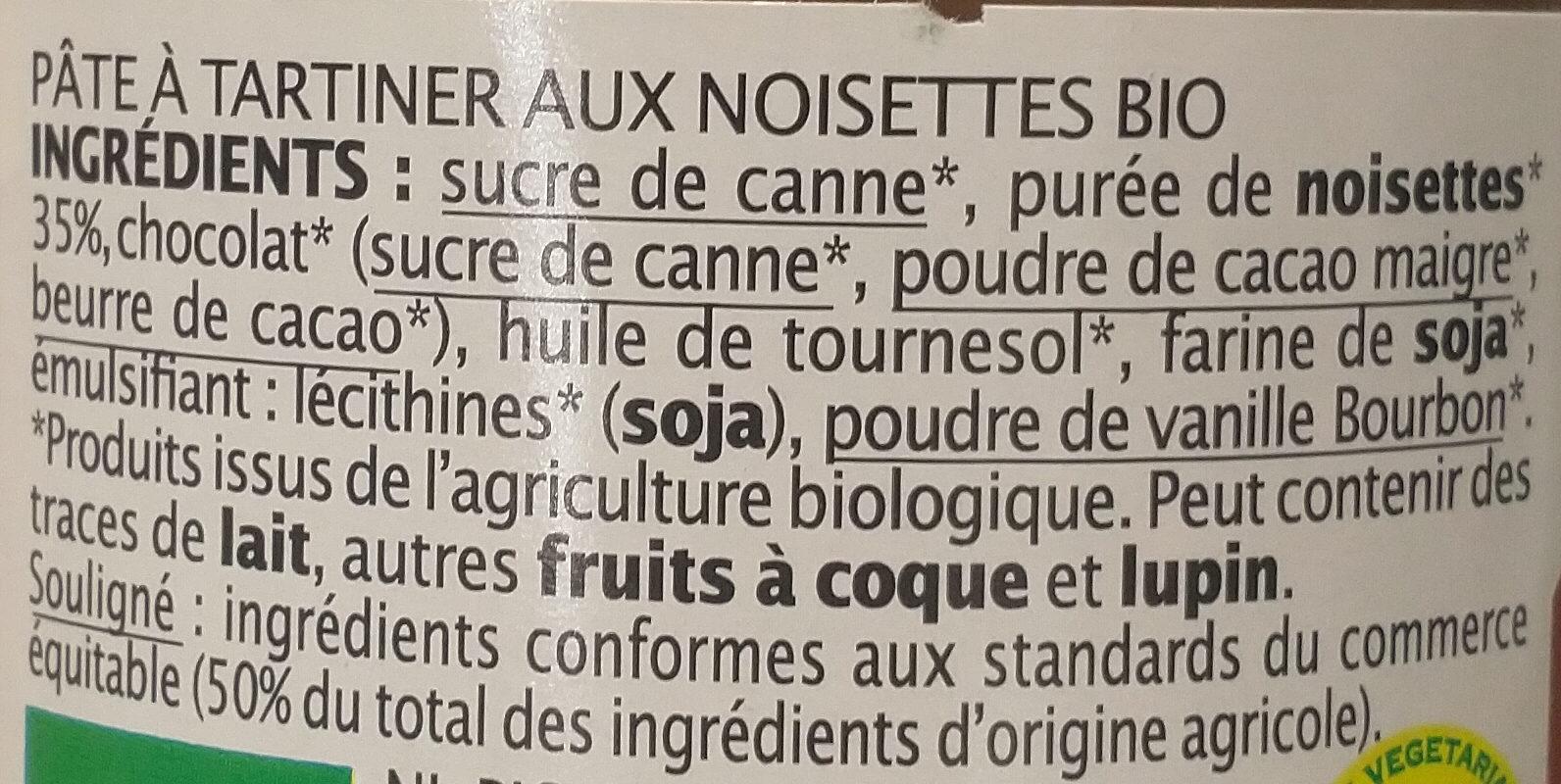 Pâte à tartiner 35% noisettes - Ingredients - fr