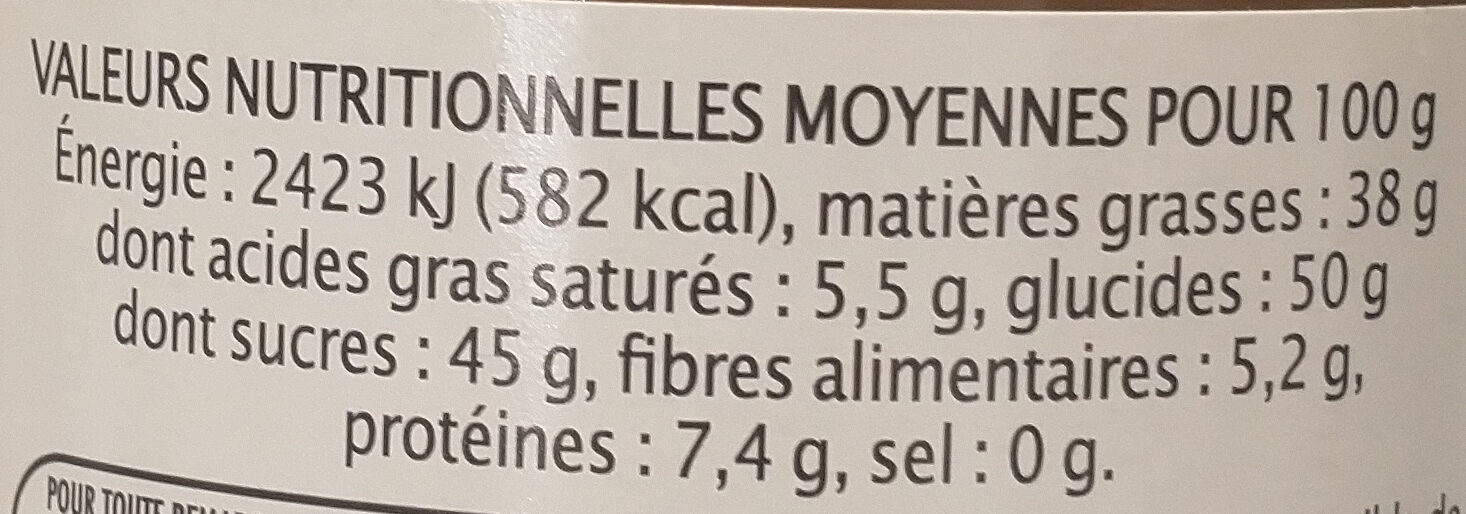 Pâte à tartiner 35% noisettes - Nutrition facts - fr