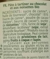 Pâte à Tartiner Choco Noisettes - Ingrediënten - fr