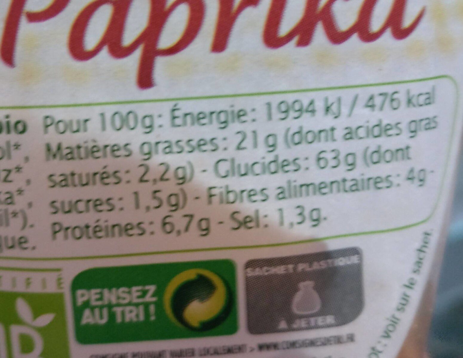 Tortillas Paprika - Informations nutritionnelles - fr