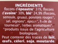 Préparation pour steaks veggie aux 3 céréales - Ingredients - fr