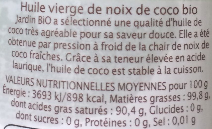 HUILE DE COCO VIERGE - Ingredienti - fr