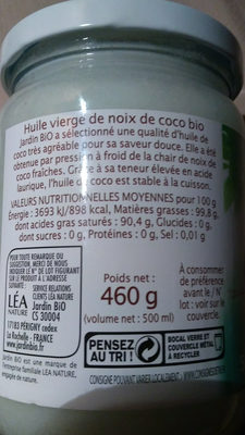 HUILE DE COCO VIERGE - Valori nutrizionali - fr