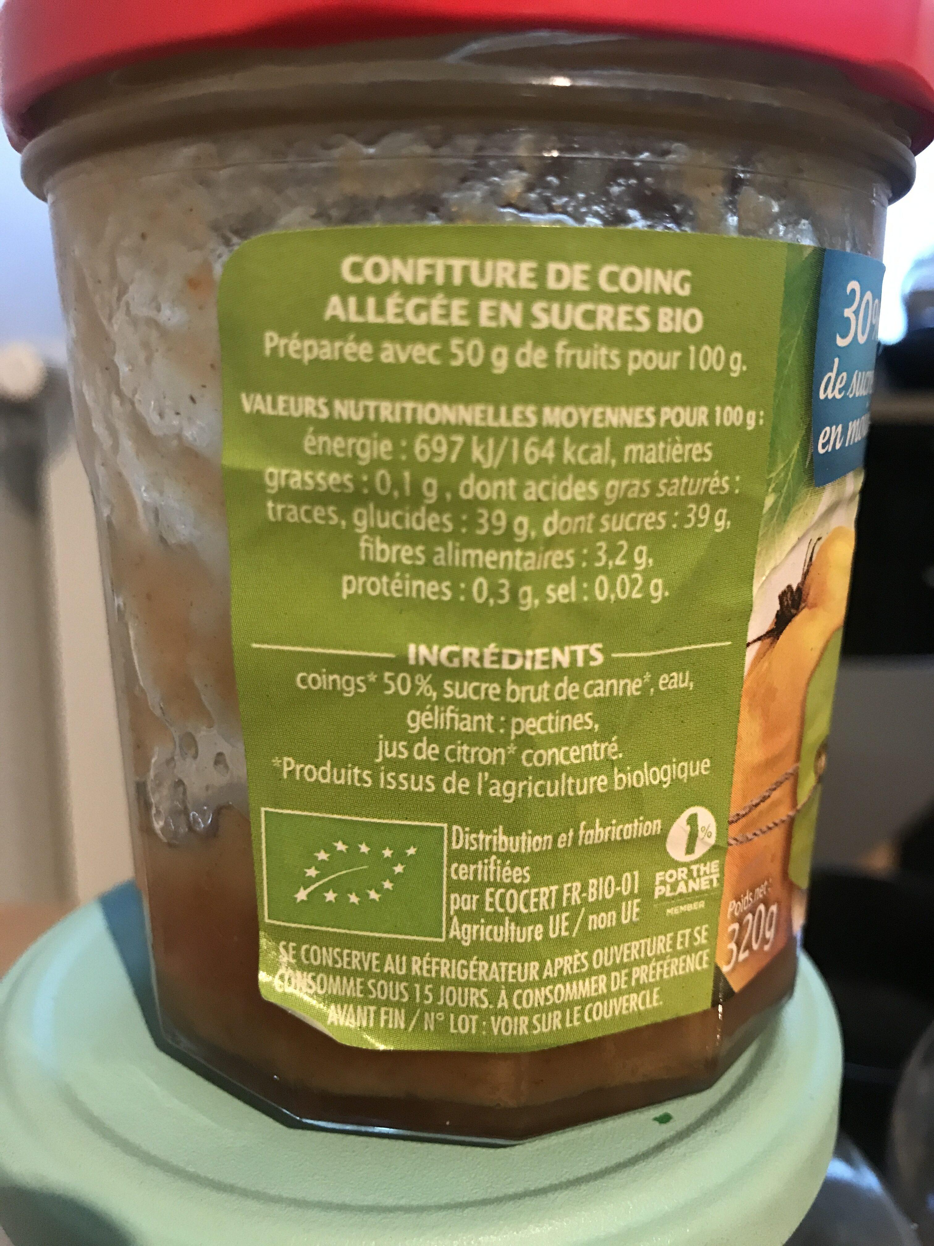 Confiture De Coing Bio - Informations nutritionnelles