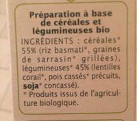 Mix à L'indienne Céréales Et Légumineuses Sans Gluten Bio - Ingrediënten - fr