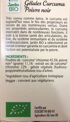 Gélules Végétales - Antioxydant Bio - Curcuma Poivre Noir - Ingrédients