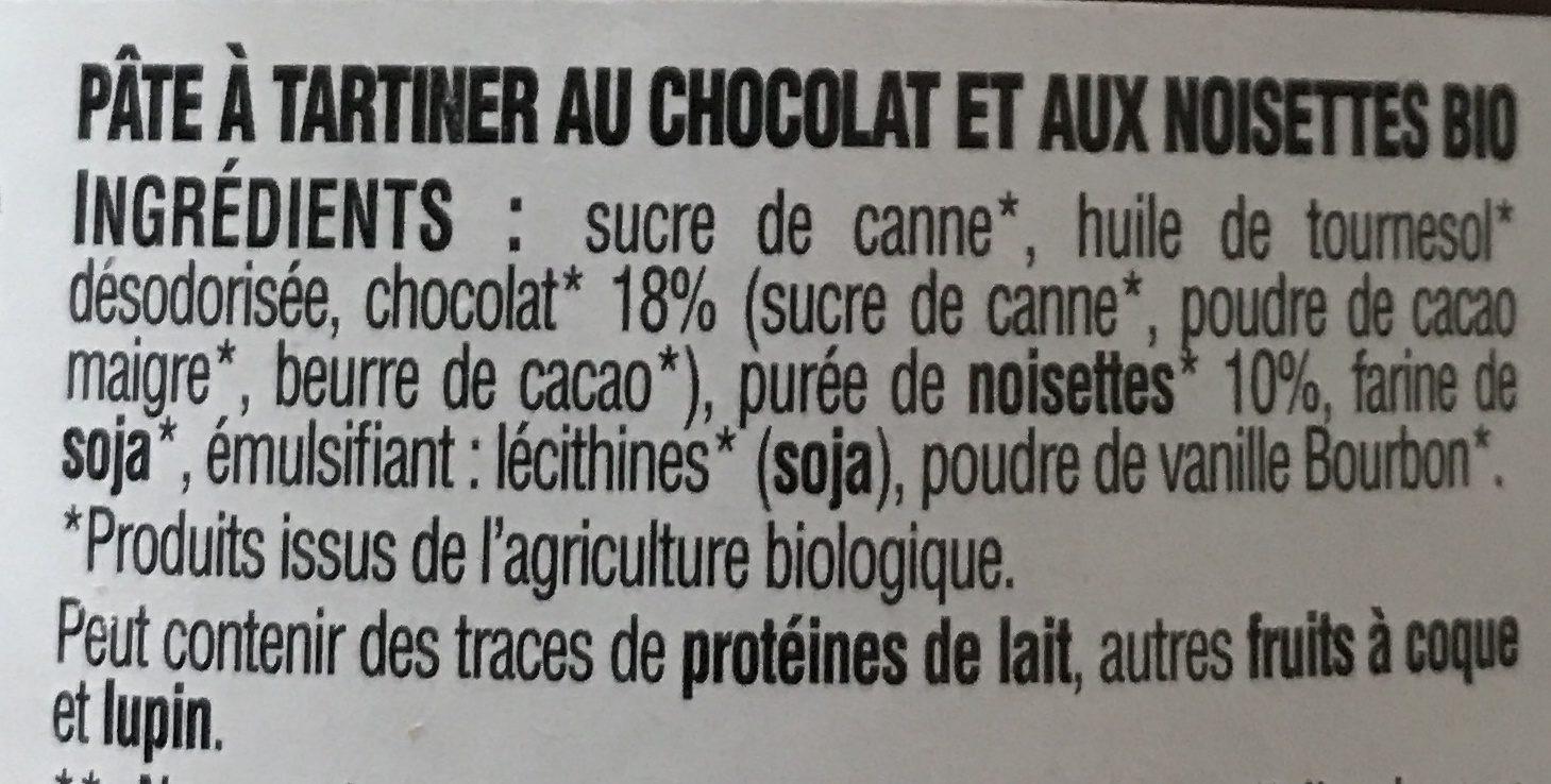 Pate à tartiner chocolat noisette sans gluten bio - Ingredienti - fr