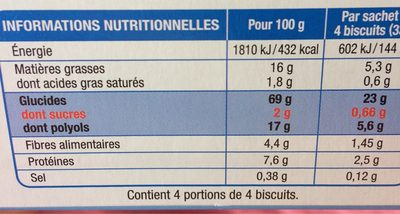 Karelea muesli abricot - Informations nutritionnelles