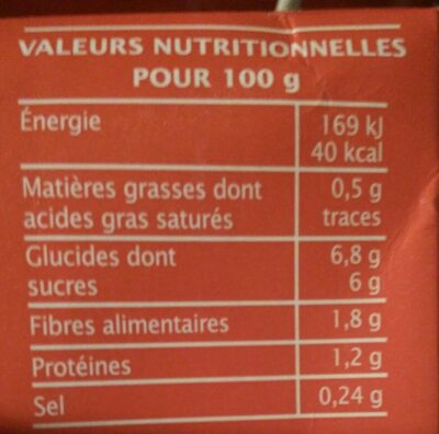 Coulis tomate - Informations nutritionnelles - fr