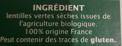 Lentilles vertes irigine Vendée - Ingredients