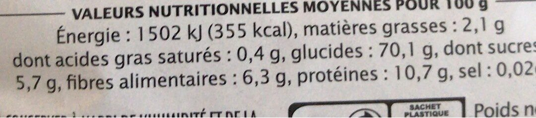 Coquille Quinoa Tomate - Informations nutritionnelles - fr
