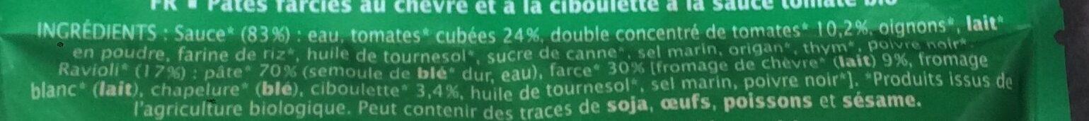 Ravioli chèvre ciboulette - Ingrédients - fr