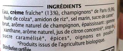 Sauce champignon à la crème fraîche - Ingrédients