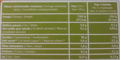 Tartines craquantes Quinoa Pois chiche - Nutrition facts - fr