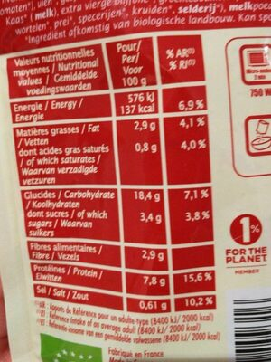 Quinotto tomate parmesan - Informations nutritionnelles - fr
