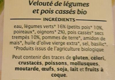 Velouté légumes verts et pois cassés - Ingredients
