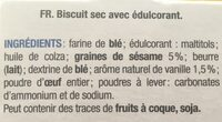 Biscuits gourmands Sésame Vanille - Ingrédients