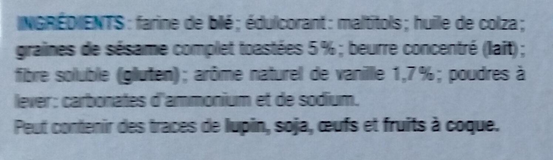 BISCUITS SESAME VANILLE SANS SUCRE AJOUTE - Ingredients - fr