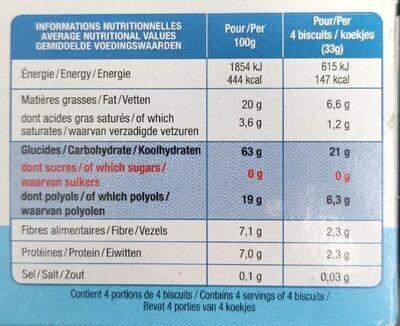 BISCUITS SESAME VANILLE SANS SUCRE AJOUTE - Nutrition facts - fr