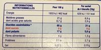 Biscuits gourmands Sésame Vanille - Informations nutritionnelles - fr