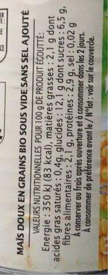 Mais doux croquant sans ogm - Informations nutritionnelles - fr