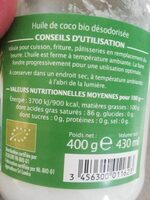 Huile de coco désodorisé - Valori nutrizionali - fr