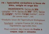 Tartines craquantes blé complet - Ingrédients - fr