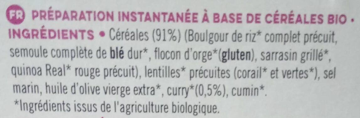 INSTANT' multicéréales bio curry doux - Ingredients - fr