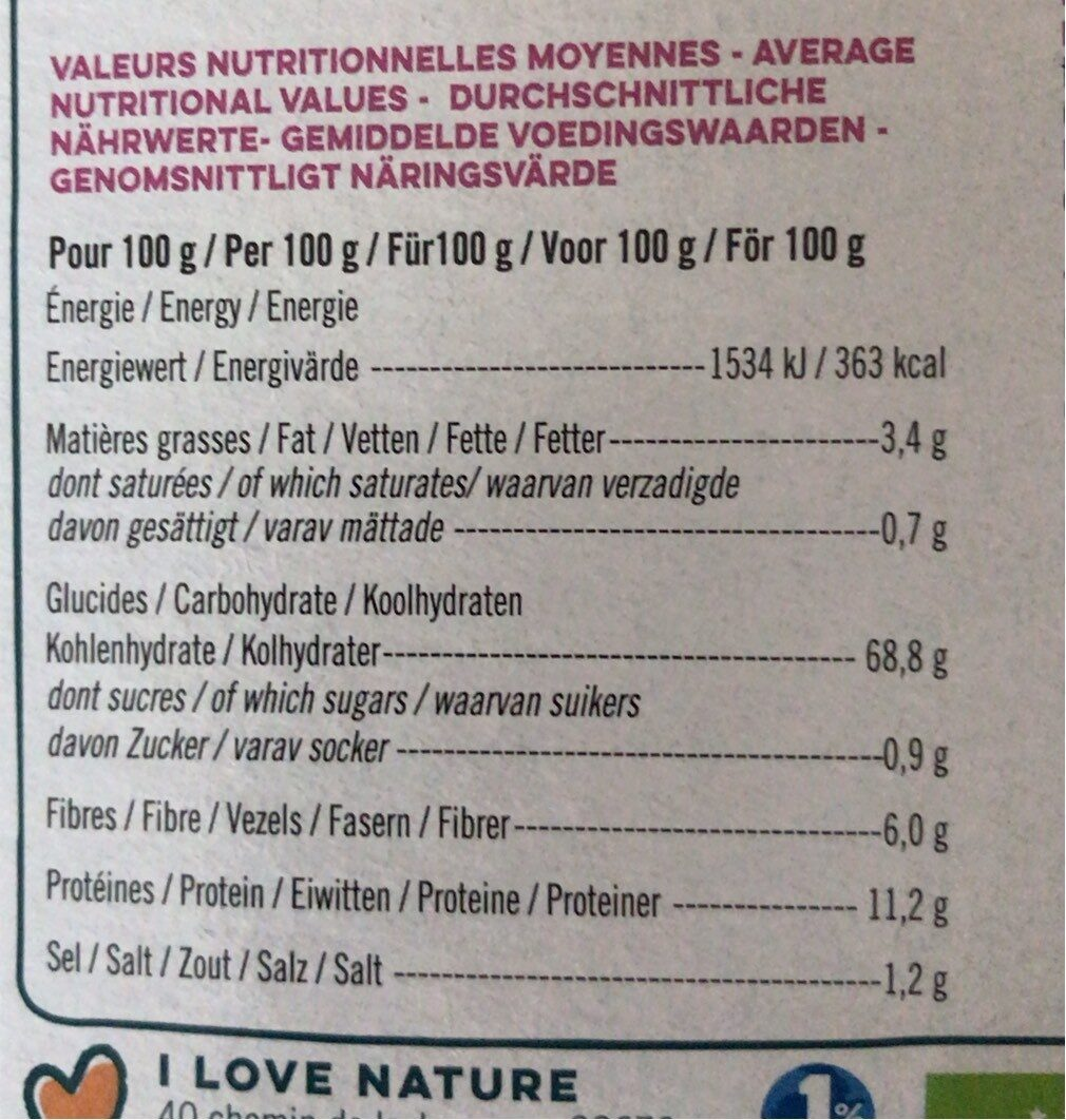 INSTANT' multicéréales bio curry doux - Nutrition facts - fr