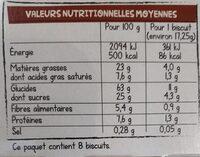 Nos tartinettes à croquer,  au chocolat noisette - Nutrition facts