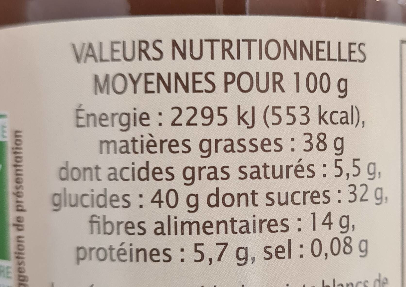 Pate a tartiner choco noisette - Nutrition facts - fr