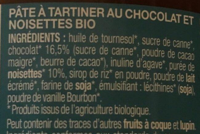 Pate à tartiner chocolat noisette réduite en sucre équitable bio - Ingredienti - fr