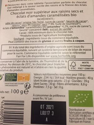 NOIR Raisins Amandes - Ingrédients - fr