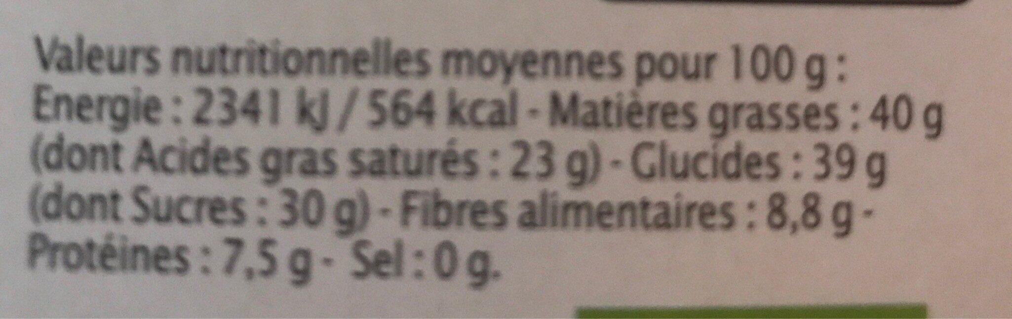 NOIR Raisins Amandes - Informations nutritionnelles - fr