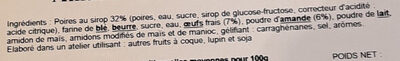 Amandine aux poires Williams - Ingrédients