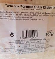 Tarte aux Pommes et à la Rhubarbe - Produit - fr