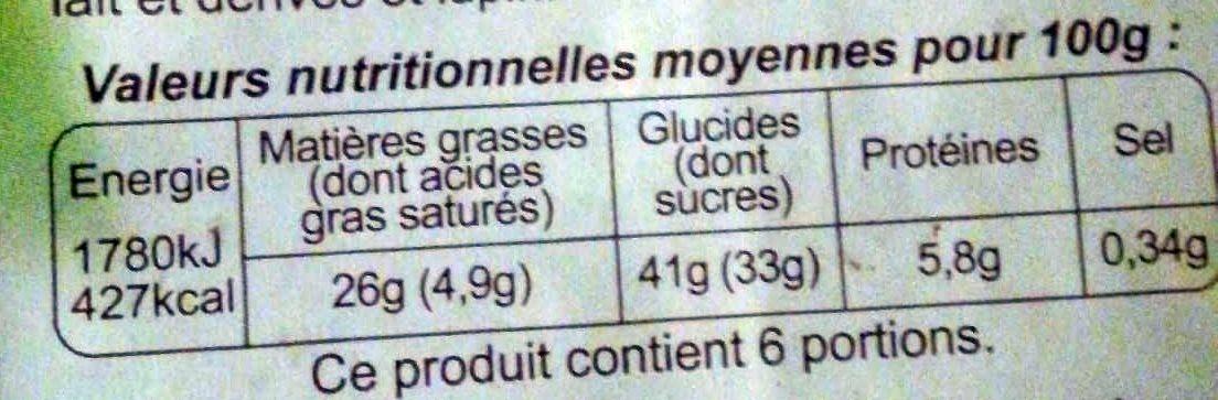 Moelleux Au Chocolat 450G, - Voedingswaarden - fr