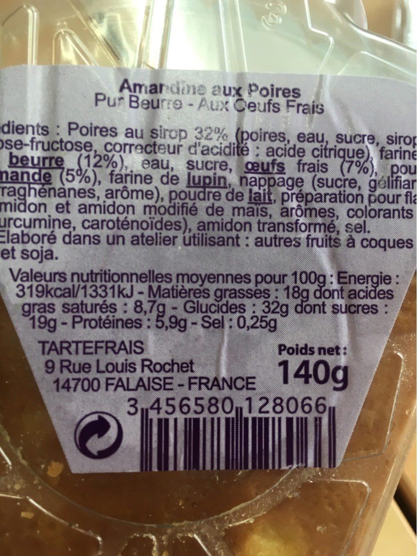 Amandine Poires Williams - Informations nutritionnelles