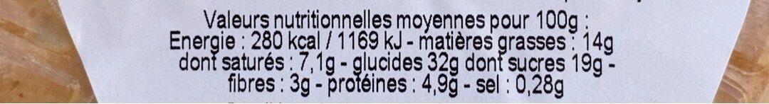 Amandine aux poires - Informations nutritionnelles - fr